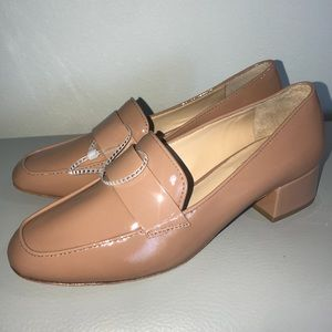 Patent nude loafers